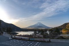 Mount Fuji or Mt. Fuji, the World Heritage, view in Lake Shoji ( Shojiko ). Fuji Five Lake region. Minamitsuru District, Yamanashi prefecture, Japan. Landscape stock image