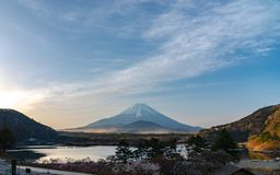 Mount Fuji or Mt. Fuji, the World Heritage, view in Lake Shoji Shojiko . Fuji Five Lake region. Minamitsuru District, Yamanashi prefecture, Japan. Landscape stock photos