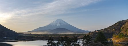 Mount Fuji or Mt. Fuji, the World Heritage, view in Lake Shoji Shojiko . Fuji Five Lake region. Minamitsuru District, Yamanashi prefecture, Japan. Landscape royalty free stock images
