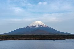 Mount Fuji or Mt. Fuji, the World Heritage, view in Lake Shoji ( Shojiko ). Fuji Five Lake region. Minamitsuru District, Yamanashi prefecture, Japan. Landscape royalty free stock image