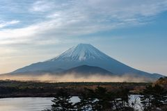 Mount Fuji or Mt. Fuji, the World Heritage, view in Lake Shoji ( Shojiko ). Fuji Five Lake region. Minamitsuru District, Yamanashi prefecture, Japan. Landscape royalty free stock photography