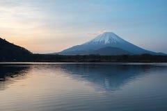Mount Fuji or Mt. Fuji, the World Heritage, view at Lake Shoji Shojiko in the morning. Fuji Five Lake region, Minamitsuru District, Yamanashi prefecture, Japan stock photos