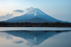 Mount Fuji or Mt. Fuji, the World Heritage, view at Lake Shoji Shojiko in the morning. Fuji Five Lake region, Minamitsuru District, Yamanashi prefecture, Japan stock image