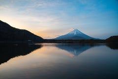 Mount Fuji or Mt. Fuji, the World Heritage, view at Lake Shoji Shojiko in the morning. Fuji Five Lake region, Minamitsuru District, Yamanashi prefecture, Japan stock photo