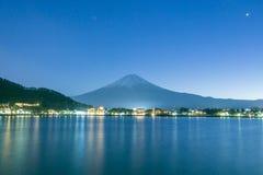 Mount Fuji in night time at Kawaguchiko lake. View of beautiful Mount Fuji in night time at Kawaguchiko lake, Japan stock photo