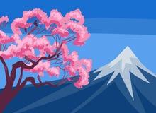 Mount Fuji och körsbärsröd blomning royaltyfri illustrationer