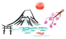 Mount Fuji och sakura i Japan Royaltyfria Foton