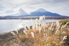 Mount Fuji p? sj?n Yamanaka i h?sts?songen av Japan royaltyfri fotografi