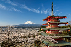 Mount Fuji with pagoda and cherry trees, Japan Stock Images