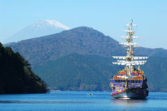 Mount Fuji  and pirate ship Stock Photo