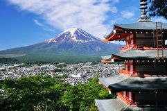 Mount Fuji and red pagoda. Mount fuji as background and red pagoda from famous overlook in Japan royalty free stock photography