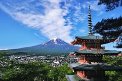 Mount Fuji and red pagoda. Mount fuji as background and red pagoda from famous overlook in Japan stock image