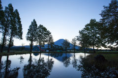 Mount Fuji with reflection in morning summer Stock Photo