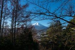 Mount Fuji scenic from staircase to Chureito temple. Stock Photos