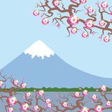 Mount Fuji, Spring Nature background with Japanese cherry blossoms, sakura pink flowers landscape. Water lake, forest mountain wit. H snow-capped peaks, blue sky Royalty Free Stock Photos