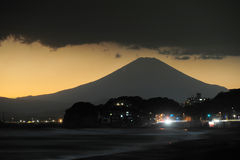 Mount fuji with storm cloud Stock Photography