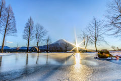 Mount Fuji with sun rise at FumoToppara campsite in Winter Royalty Free Stock Images
