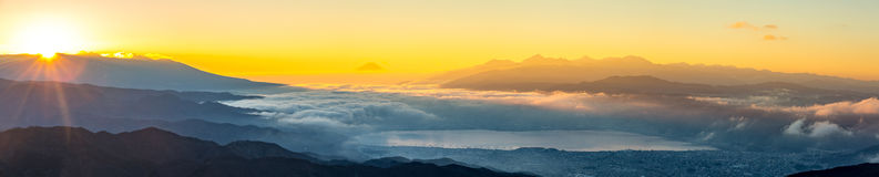 Mount Fuji Sunrise. Aerial Mount Fuji with Suwako Lake sunrise Takabochi panorama Royalty Free Stock Images