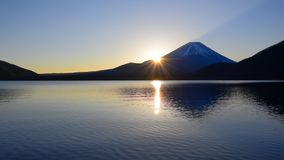Mount Fuji and Sunrise from Lake Motosu Japan wide panorama stock video footage