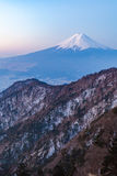 Mount Fuji. During sunrise time in winter season seen from Top of Mt. Mitsutoge royalty free stock images