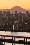 Mount Fuji and Tokyo city view stock images
