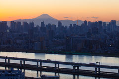 Mount Fuji and Tokyo city view royalty free stock image