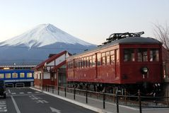 Mount Fuji and train. Train near Kawaguchiko train station and Mount Fuji in the background Stock Images