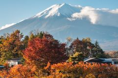 Mount Fuji View in Autumn from a resort in Japan stock image