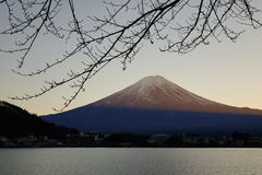 Mount Fuji, view from Kawaguchi town in Japan Royalty Free Stock Images