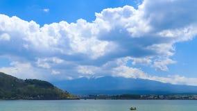 Mount Fuji, view from Lake Kawaguchiko, Japan. Timelapse Mount Fuji, view from Lake Kawaguchiko, Japan stock video