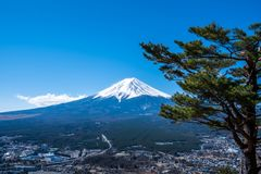 Mount Fuji view from Mt. Fuji Panorama Rope way, commonly called Fuji san in Japanese, Mount Fuji`s exceptionally symmetrical con. E, which is snow capped for royalty free stock photo