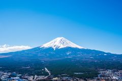 Mount Fuji view from Mt. Fuji Panorama Rope way, commonly called Fuji san in Japanese, Mount Fuji`s exceptionally symmetrical con. E, which is snow capped for stock image