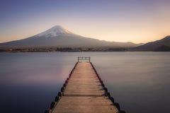 Japanese landscape at sunset. Mount Fuji viewed from Kawaguchi lake at sunset, Japan stock photos