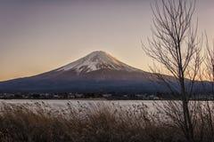 Japanese landscape at sunset. Mount Fuji viewed from Kawaguchi lake at sunset, Japan stock images
