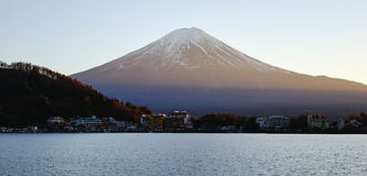 Mount Fuji with the village in Kawaguchi, Japan.  stock image