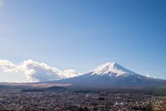 Mount Fuji and the village which is in front of the mountain. The Mount Fuji and the village which is in front of the mountain stock photo