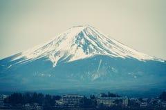 Mount Fuji in winter Kawaguchiko town on foreground royalty free stock photos
