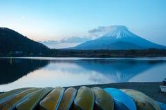 Mount Fuji, the World Heritage. View at Lake Shoji  Shojiko  in the morning day. Mt. Fuji reflection on sunrise. Fuji Five Lake region, Yamanashi prefecture stock image