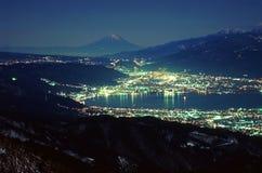 Mount Fuji XLI. Night lights surrounding a lake near Mount Fuji Royalty Free Stock Photography