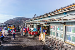 MOUNT FUJI, YAMANASHI, JAPAN - July 25, 2017 : Lodge house and. Small shops on the summit of Mount Fuji. Fuji is highest mountain in Japan at 3,776 m, symbol of royalty free stock photo