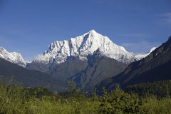 Mount Ganesh. Looking at Mount Ganesh in Nepal from Tibet of China Stock Photo