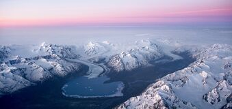 Mount Gannett near Anchorage. A view of Inner Lake George, created by a glaciar that runs off Mount Gannett Alaska. Picture was taken from the cockpit of a