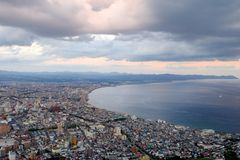 Mount Hakodate ropeway with cityscape view royalty free stock photos