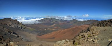 Mount Haleakala Crater, Maui (panorama). Panoramic Shot On Top Of Mount Haleakala Crater, Maui. Haleakala National Park is the most visited part of East Maui Stock Image