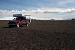 MOUNT HEKLA, ICELAND - JULY 28. 2008: Isolated camper off road in volcanic wasteland stock images