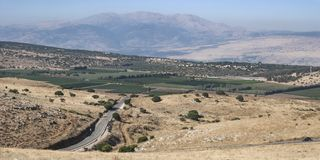Mount Hermon from Above Kiryat Shmona in the Golan Heights royalty free stock photo