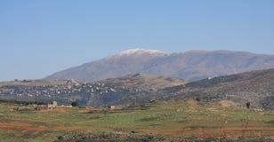 Mount Hermon (Jabal El-Sheikh). Mount Hermon capped by the Season's first snows (Lebanon-South Stock Photo