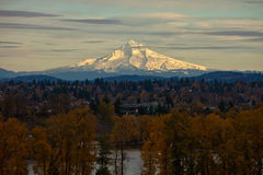Mount Hood. Scenic view of snow capped Mount Hood with Willamette river and forest in foreground, Oregon, U.S.A royalty free stock photo