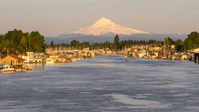 Mount Hood along Columbia River Gorge in Hayden Island Time Lapse stock video footage