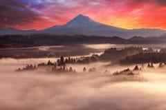 Mount Hood Foggy Sunrise ealy morning in Oregon Royalty Free Stock Photography